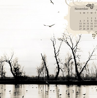 Desktop Wallpaper Calendar November 2011 - Using Photoshop Brushes