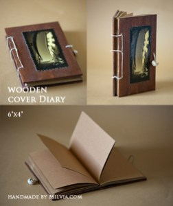 woodden cover diary