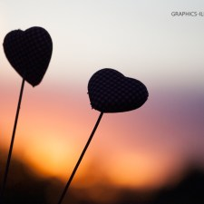 Graphics Illustrations Wallpaper - Two Hearts In The Sunset 1280 × 800