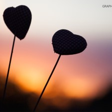 Graphics Illustrations Wallpaper - Two Hearts In The Sunset 1366 × 768