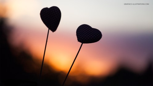Graphics Illustrations Wallpaper - Two Hearts In The Sunset 1920 × 1080