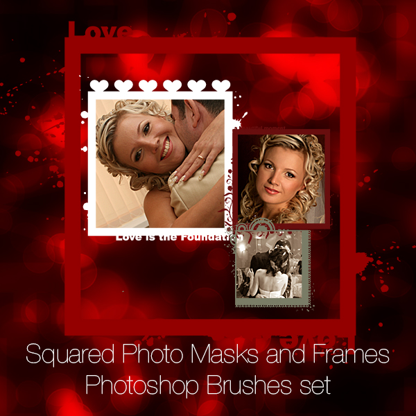 Squared Photo Masks and Frames Photoshop Brushes