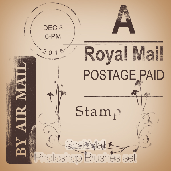 Snail Mail Photoshop Brushes