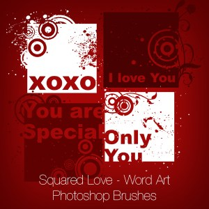 Squared Love - Word Art Photoshop Brushes