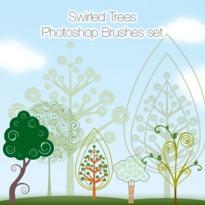 Swirled Trees Photoshop Brushes