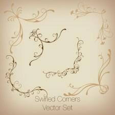Swirled Corners Vector Set