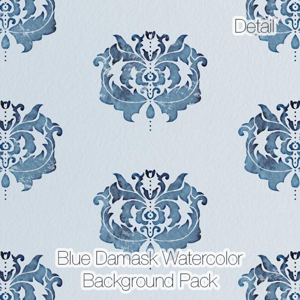 Damask Watercolor Backgrounds (Digital Paper Pack)