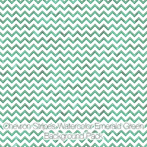 Chevron Stripes Watercolor Backgrounds Pack, Emerald Green