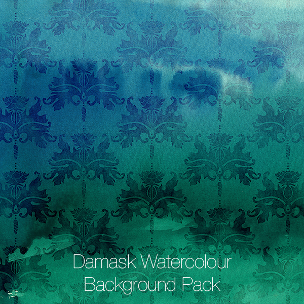 Damask Watercolour Backgrounds Pack (blue-green)
