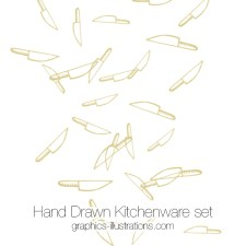 Hand Drawn Kitchenware Set: Photoshop brushes, Vector Files (EPS) and Transparent PNG files. Hand Drawn Retro Design Elements