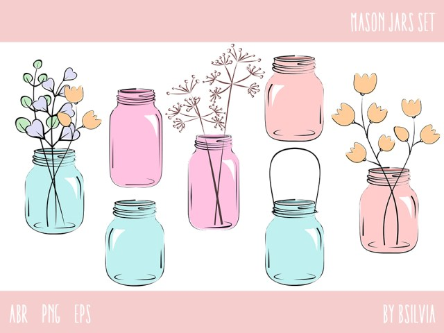 Mason Jars Set, Mason Jars Photoshop Brushes, Mason Jars Clip Art, Vector files (EPS) and PNG transparent files, Retro Design Elements