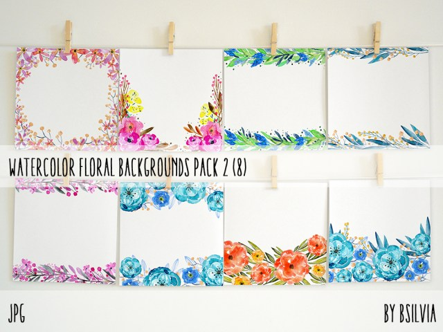 Watercolor Floral Backgrounds with Text Space, Watercolor Flowers Backgrounds Pack 2, Watercolor Flower Digital Paper, Floral Bloom Paper