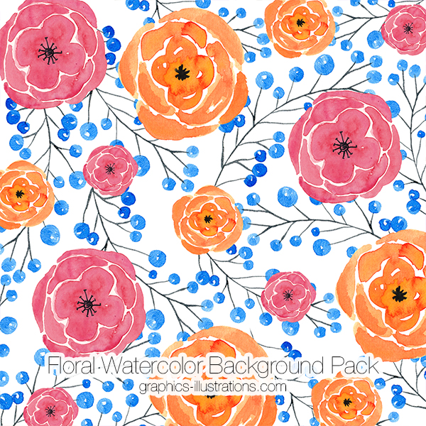 Watercolor Floral Backgrounds, Watercolor Flowers Backgrounds Pack 10, Watercolor Flower Digital Paper, Floral Bloom Paper, Floral Card