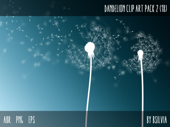 Dandelions Clip Art Pack - Dandelions Photoshop Brushes, Dandelions transparent PNG files, Dandelions vector files (EPS), Commercial Use