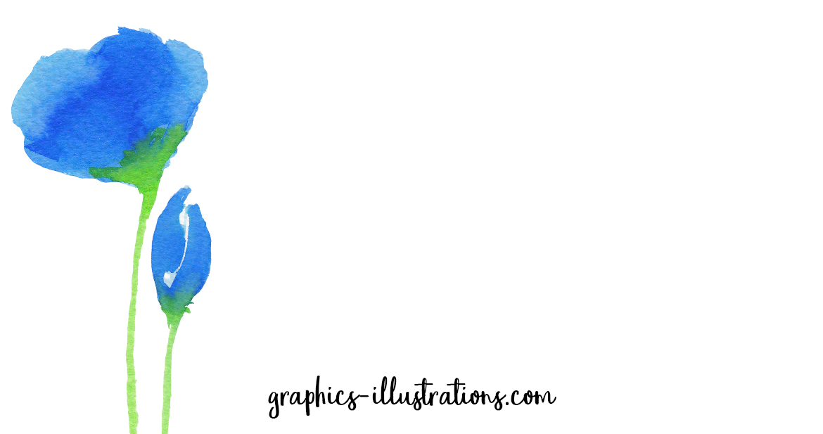 FREE Blue Floral Watercolor PNGs