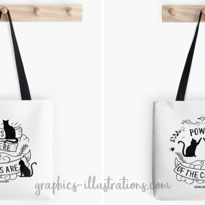 Cat Illustrations On Tote Bags