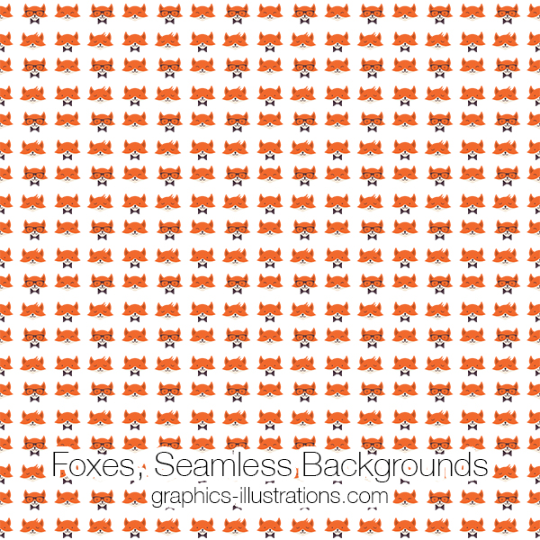 Foxes Seamless Pattern Backgrounds, Foxes Digital Papers (transparent PNG files)