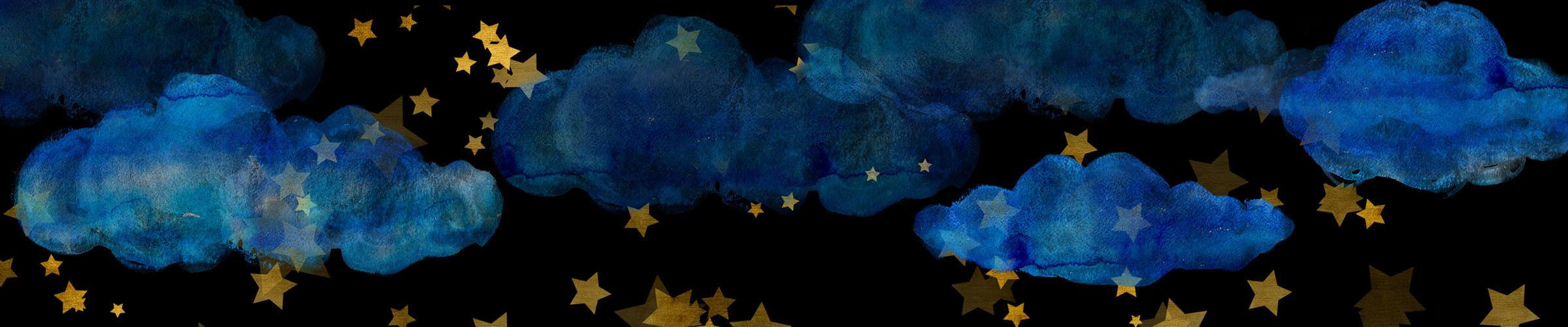 Blue Watercolor Clouds and Gold Stars, transparent PNG files on Etsy