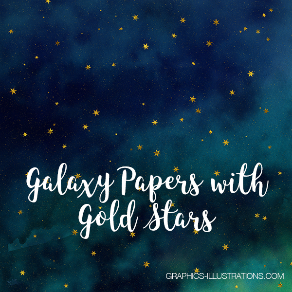 Galaxy Papers with Gold Stars,Galaxy Backgrounds 12x12 inches