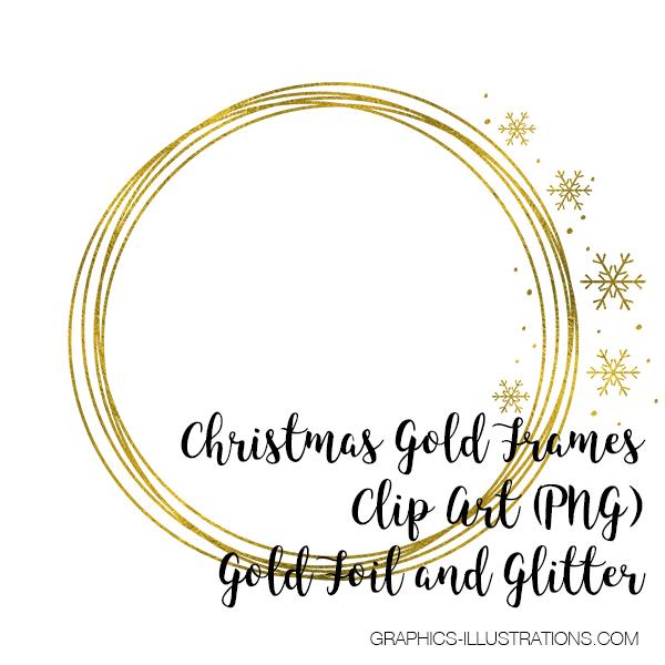 Christmas Gold Frames Clip Art