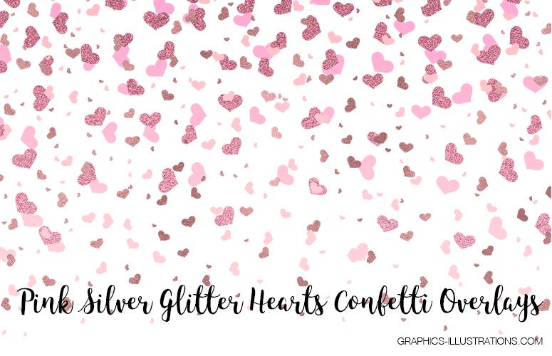 Pink Silver Glitter Hearts Confetti Overlays - Free Download