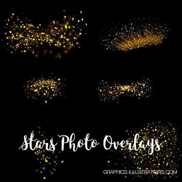 Stars Photo Overlays, Set of 26 JPG and 12 PNG Photo Overlays