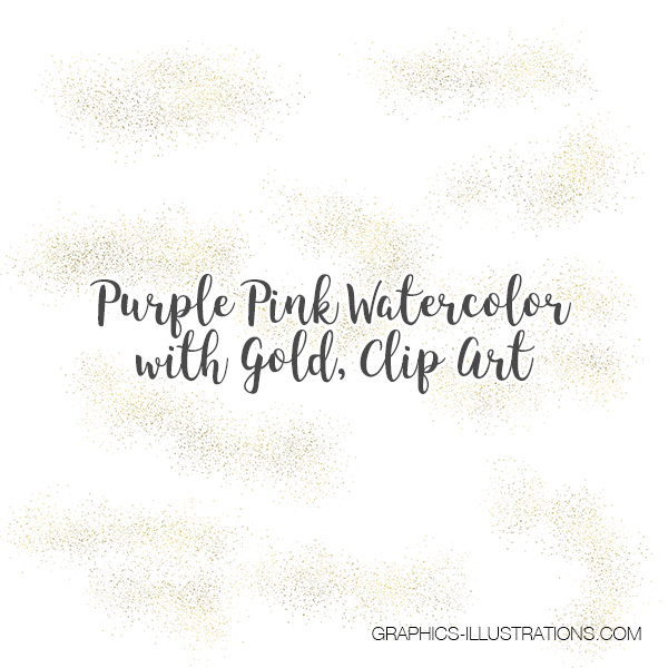 Pink Purple Watercolor and Gold, Clip Art