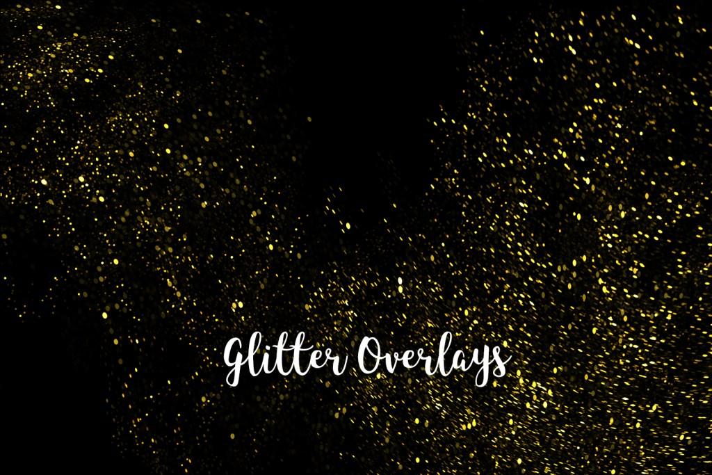 Yellow Glitter Overlays, Gold Glitter Bokeh Overlays