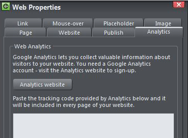 Xara Web Designer Google Analytics
