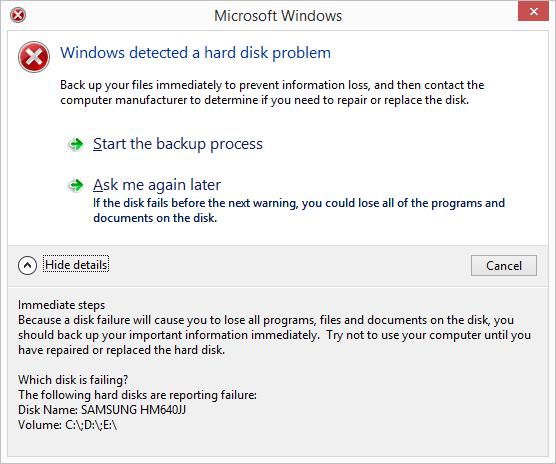 Windows SMART hard disk problem error