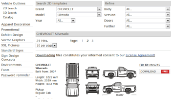 vehicle template search updated and older templates available for