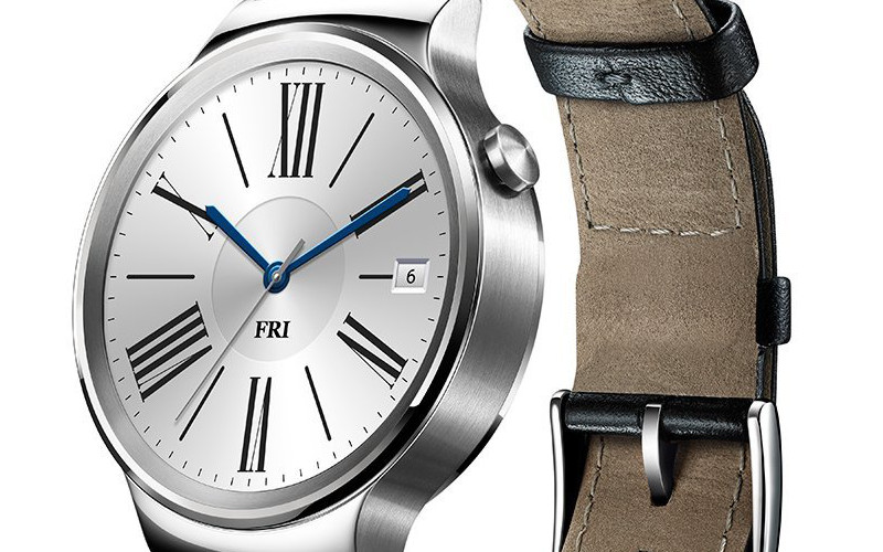 Huawei Smartwatch Stainless Steel with Black Leather Strap