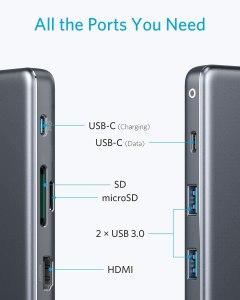 Anker USB C Hub, PowerExpand+ 7-in-1 USB C Hub Adapter