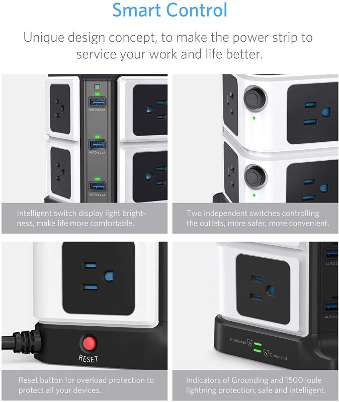 BESTEK USB Power Strip 8-Outlet Surge Protector 1500 Joules