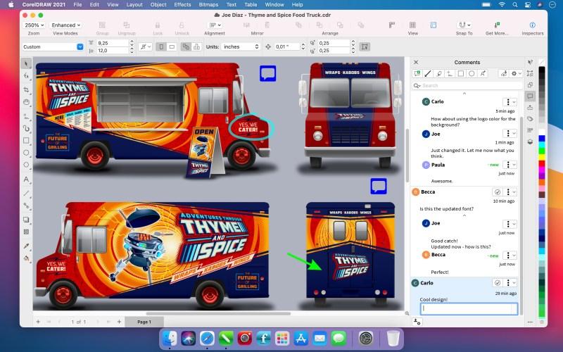 CorelDRAW Graphics Suite 2021 for Mac Live Comments