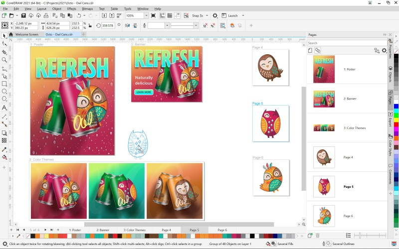 CorelDRAW Graphics Suite 2021 for Windows Multipage View