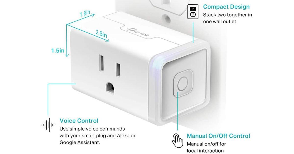 Kasa Smart Plug HS103P4 Smart Home Wi-Fi Outlet