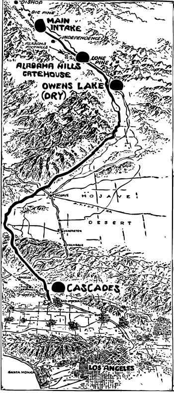 A map showing key locations along the aqueduct's path.