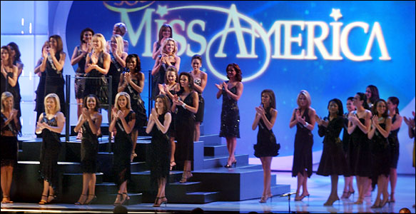Contestants in the Miss America Pageant broadcast from Atlantic City on Sept. 18.