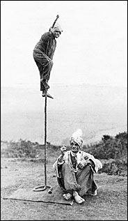 Price Collection/From ''The Rise of the Indian Rope Trick'' The Indian rope trick performed by Karachi (Arthur Derby), 1935. (Courtesy - nyt.com)