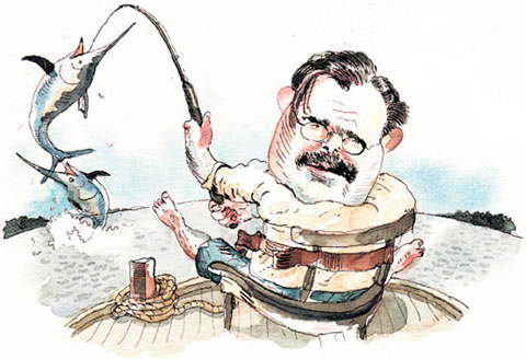 drawing of Hemingway fishing