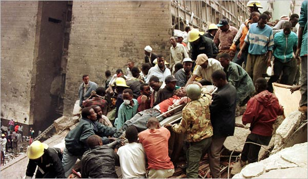 Rescuers working after the American Embassy in Kenya was bombed on Aug. 7, 1998