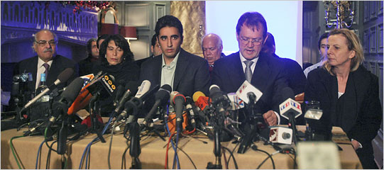 Bilawal Bhutto Zardari, 19, center stage today in London. (Photo: Matt Dunham/AP)