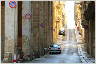 The hilly streets of Valletta.