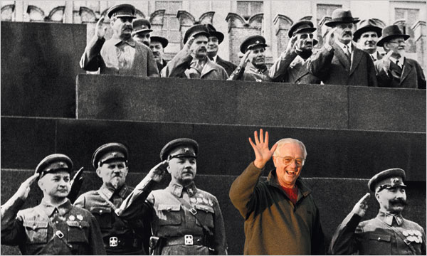 Illustration by The New York Times; photographs by Bettmann/Corbis (historical image) and John Henley/Corbis (man waving)  BACK IN THE U.S.S.R. Grandpa always wanted to visit the Soviet Union (circa May Day, 1937), and with some digital help, it's almost as if he's there.