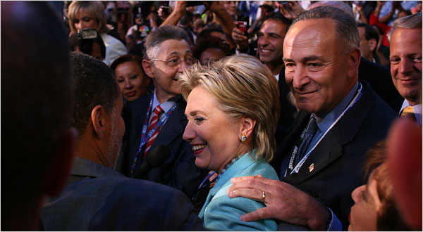 Assembly Speaker Sheldon Silver and Senators Hillary Rodham Clinton and Charles E. Schumer of the New York delegation on Wednesday.