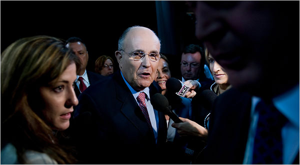 Former New York Mayor Rudolph W. Giuliani on Tuesday in St. Paul. (NYT)