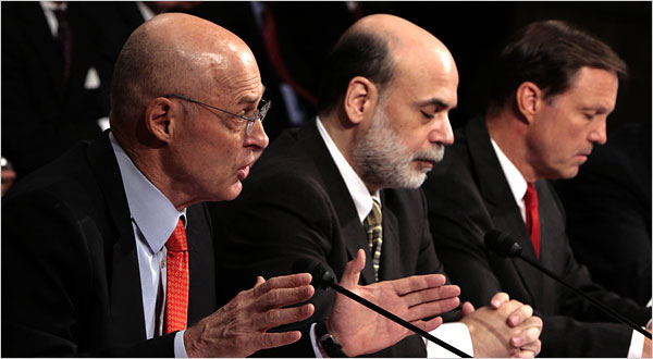 From left, Treasury Secretary Henry M. Paulson Jr., Federal Reserve Chairman Ben S. Bernanke and Chairman of the Securities and Exchange Commission Christopher Cox testified on Tuesday.