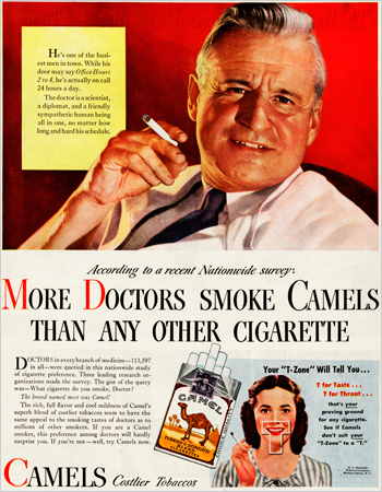 A Doctor advertising Camel cigarettes