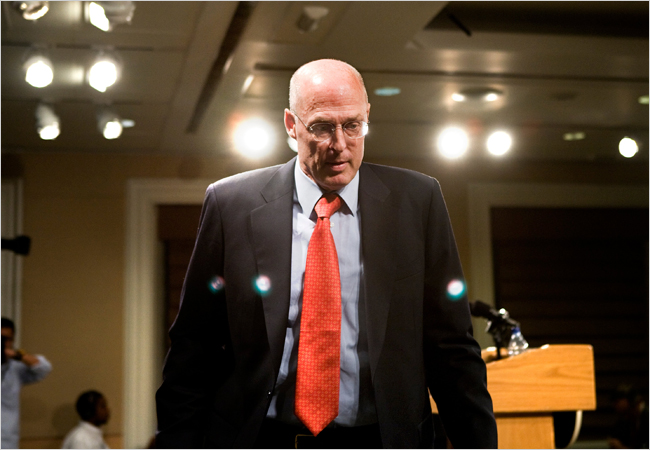 Treasury Secretary Henry Paulson after a news conference by Brendan Smialowski for NY Times